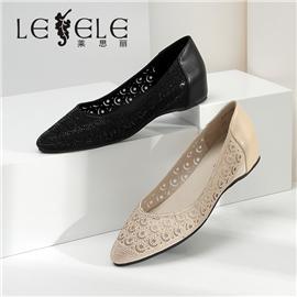 LESELE|萊思麗水鉆鏤空尖頭單鞋夏新款優雅中粗跟女鞋淺口網紗涼鞋|LA6636