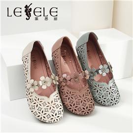 LESELE Flat bottom ethnic style flower hole women's shoes LA6629