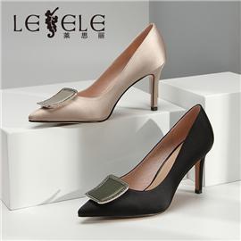 LESELE|莱思丽水钻金属扣尖头高跟鞋女秋新款浅口百搭配裙细跟单鞋|LA5354