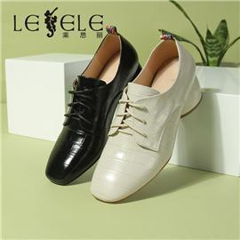 LESELE|萊思麗春季粗跟綁帶女鞋真皮方頭系帶單鞋英倫風中跟小皮鞋|LA7265