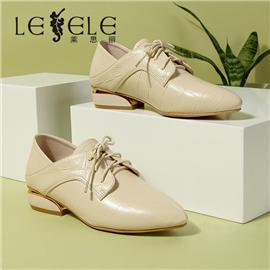 LESELE|萊思麗低跟單鞋女深口秋新款真皮粗跟尖頭平底鞋秋款女單鞋|LC6929