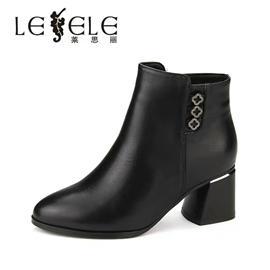 LESELE|莱思丽冬新款时尚高跟女靴 圆头牛皮拉链粗跟短靴女LD4914