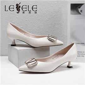 LESELE|莱思丽2021春季新款优雅时尚百搭复古英伦风羊皮高跟鞋LA7217