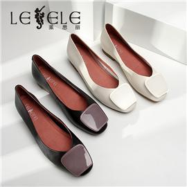 LESELE|莱思丽粗跟单鞋女2020春季新款真皮高跟鞋百搭浅口网红婚鞋伴娘鞋|LA6468
