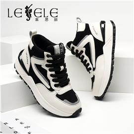 LESELE|莱思丽冬新款时尚百搭牛皮高帮小白鞋LD7764
