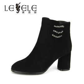 LESELE|莱思丽冬季新品靓丽水钻女短靴 圆头粗高跟羊皮短靴LD5219