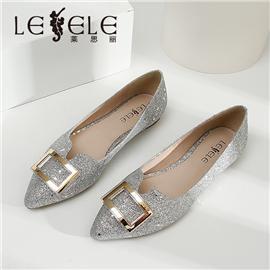LESELE|莱思丽春新款时尚性感尖头高跟鞋金属方扣亮片宴会百搭单鞋|LA6546