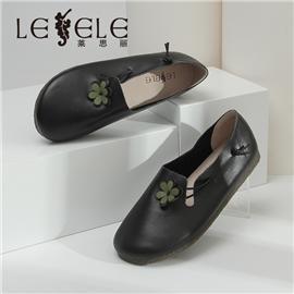 LESELE|莱思丽网红圆头单鞋女2020春新款复古文艺花朵豆豆鞋浅口奶奶鞋潮|LA6867