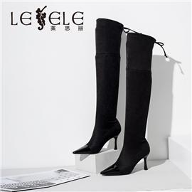 LESELE 莱思丽冬季新款高跟尖头显瘦过膝弹力长靴 LD7359