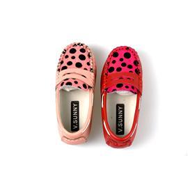 贝丽来童鞋厂V.SUNNY头层牛皮面料拼接圆点马毛猪头层里料儿童豆豆鞋