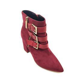 时尚女靴 秋冬新品纽扣设计 暗红系女鞋