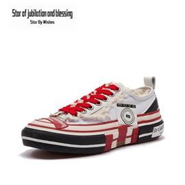 Star By Wish低帮帆布鞋经典男女街头风板鞋运动休闲鞋平板鞋时尚韩版小白鞋情侣鞋 白色