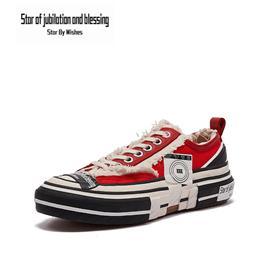 Star By Wish低帮帆布鞋经典男女街头风板鞋运动休闲鞋平板鞋时尚韩版小白鞋情侣鞋 红色