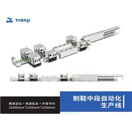 Automatic production line of shoe making middle section